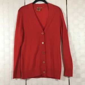 Tory Burch Red Button Down Sweater In Medium